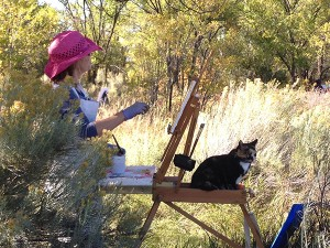 painting with cat small